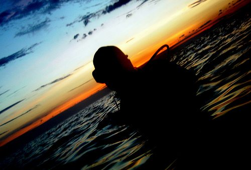 night diver, sunset, PADI Specialty